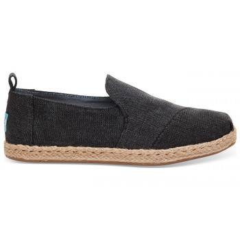 TOMS Alpargatas Black Washed Canvas Deconstructed